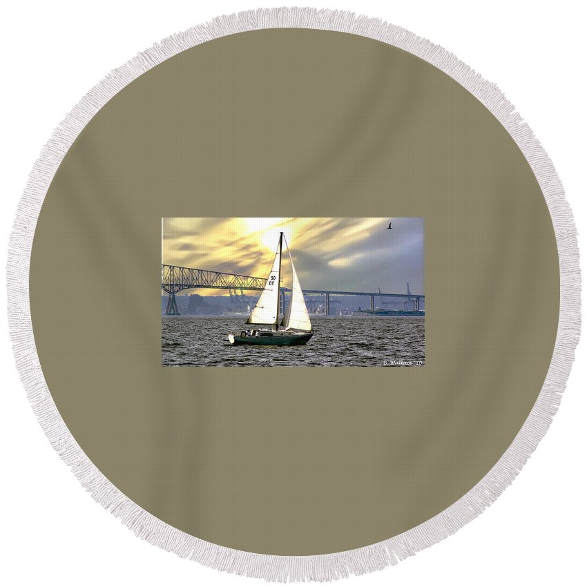2d Round Beach Towel featuring the photograph Key Bridge by Brian Wallace