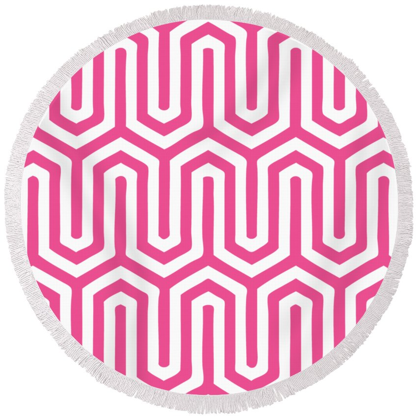 Key Maze Round Beach Towel featuring the digital art Key Maze With Border In French Pink by Custom Home Fashions