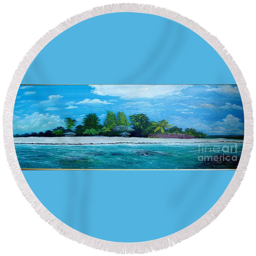 Seascape Round Beach Towel featuring the painting Key West Beach by Peter Kulik