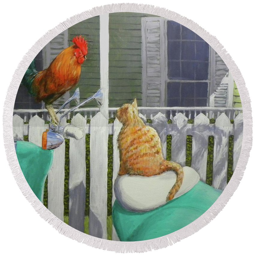 Rooster Round Beach Towel featuring the painting Key West Buddies by Paul Emig