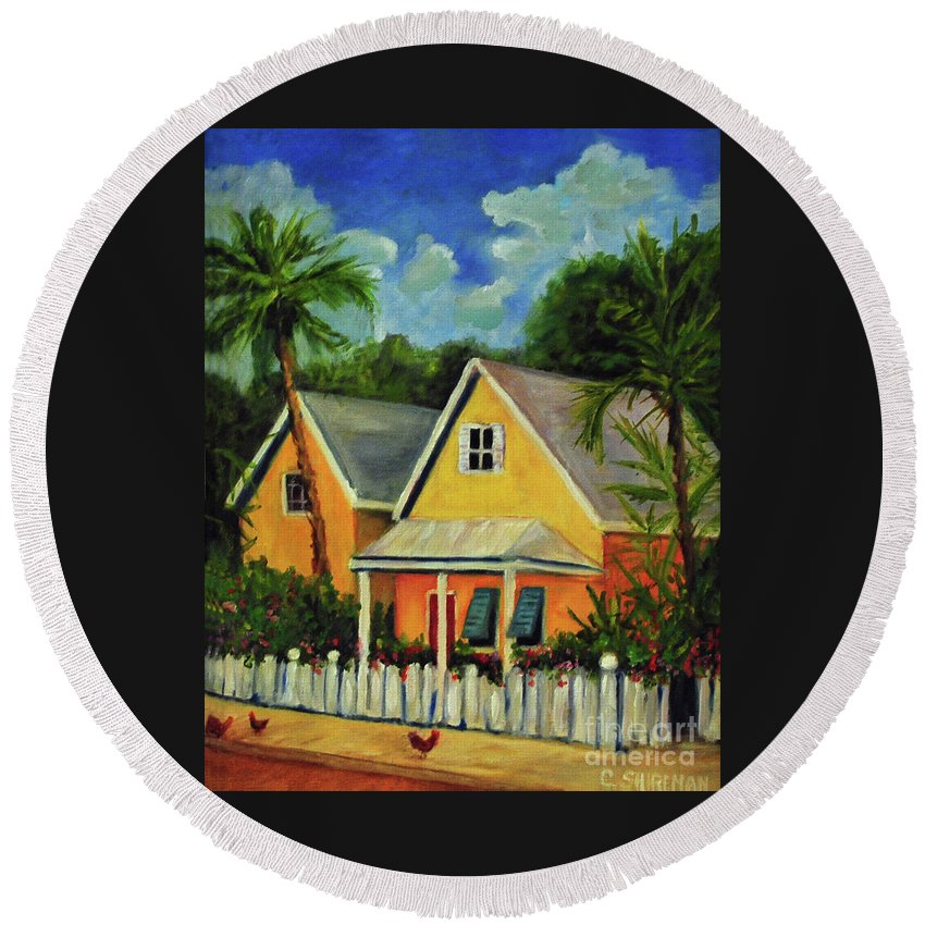 Key Round Beach Towel featuring the painting Key West Cottage by Carolyn Shireman