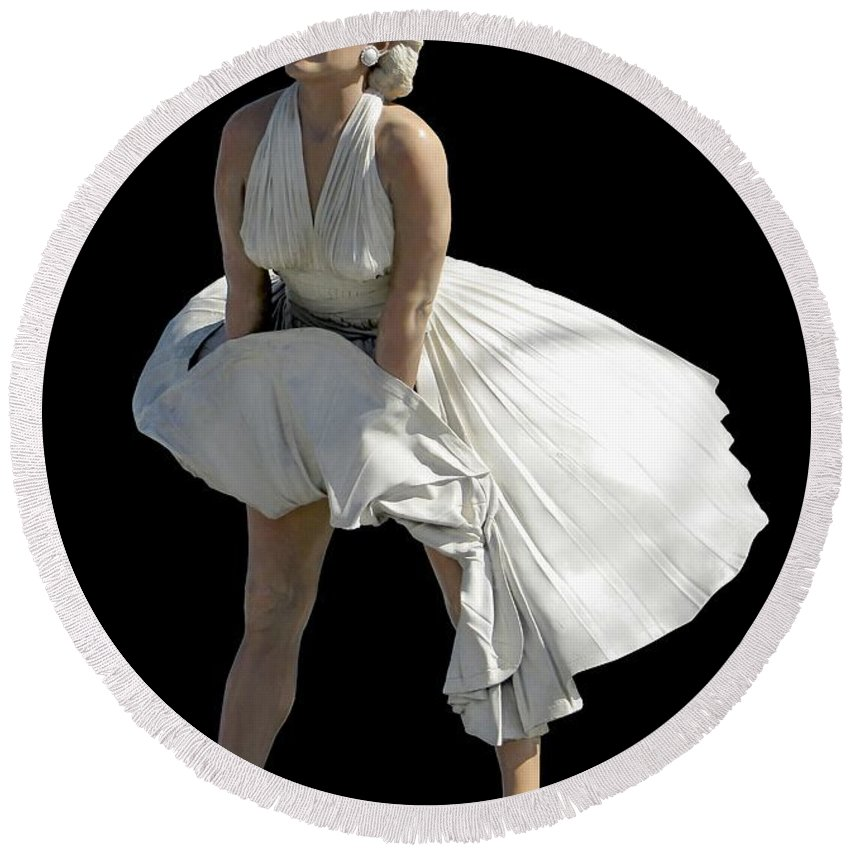 Fashion Round Beach Towel featuring the photograph Key West Marilyn - Special Edition by Bob Slitzan