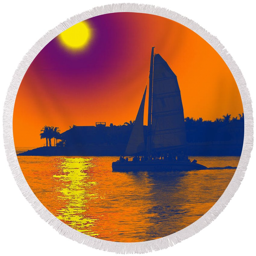 Key West Round Beach Towel featuring the photograph Key West Passion by Steven Sparks