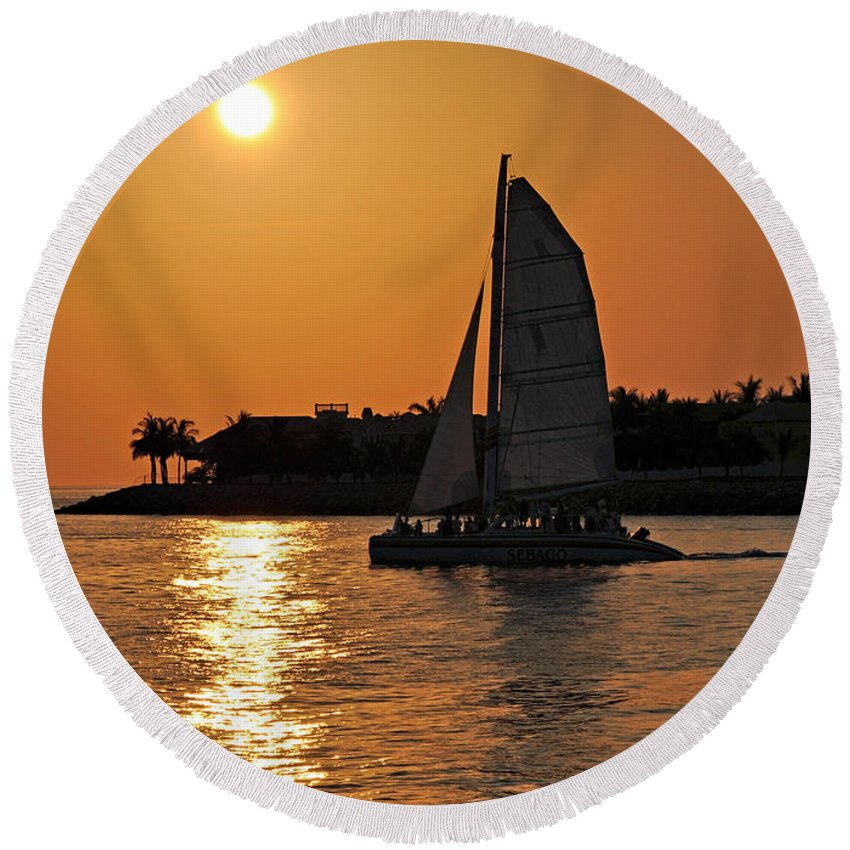 Key West Round Beach Towel featuring the photograph Key West by Steven Sparks