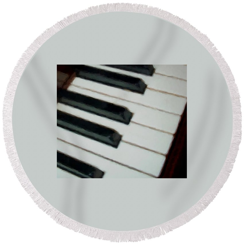 Piano Round Beach Towel featuring the digital art Keys Close Up by Anita Burgermeister