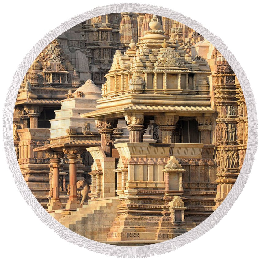 Photography Round Beach Towel featuring the photograph Khajuraho Temple, Chhatarpur District by Panoramic Images