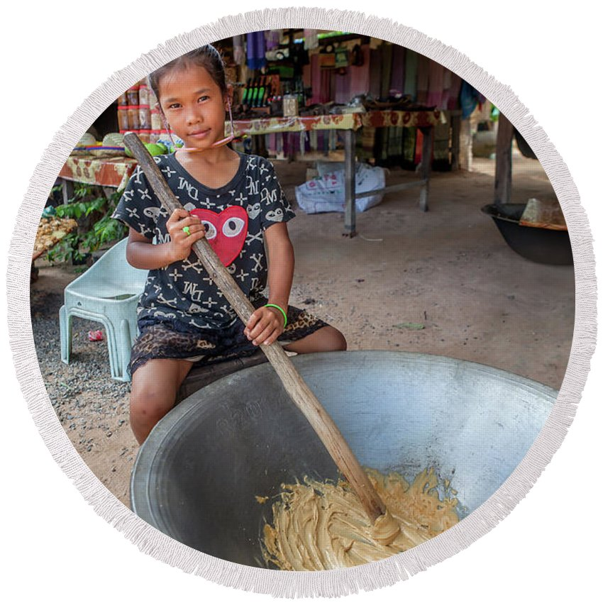 Cambodia Round Beach Towel featuring the photograph Khmer Girl Makes Sugar Cane Candy by Art Phaneuf