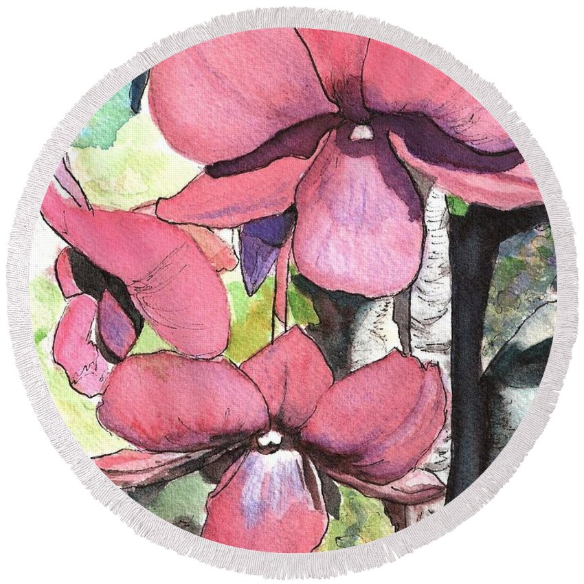 Orchid Round Beach Towel featuring the painting Kiahuna Orchids by Marionette Taboniar