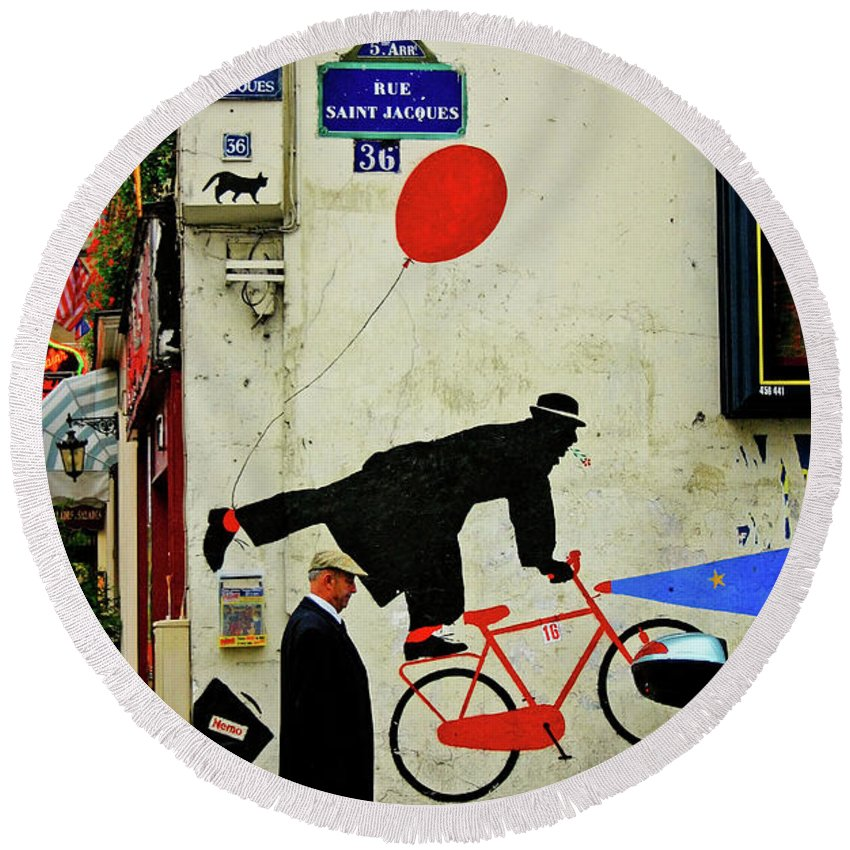 Paris Round Beach Towel featuring the photograph Kick In The Head by Skip Hunt