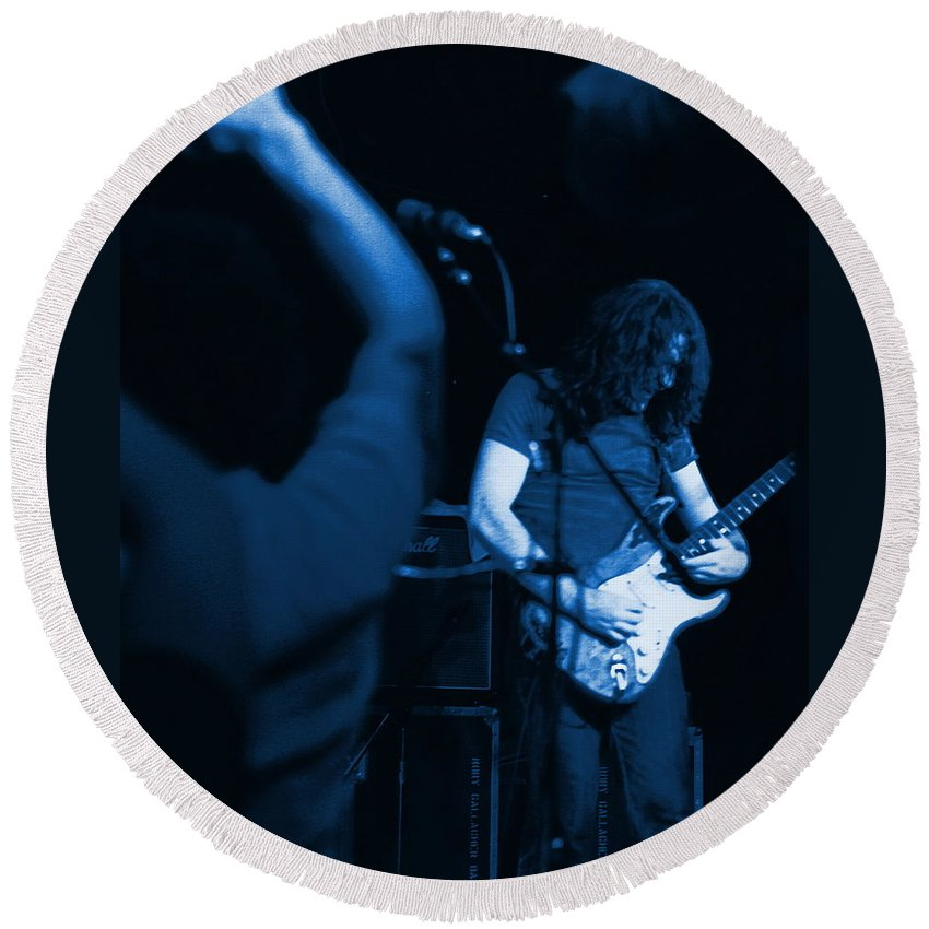 Rory Gallagher Round Beach Towel featuring the photograph Kickback City Blues by Ben Upham