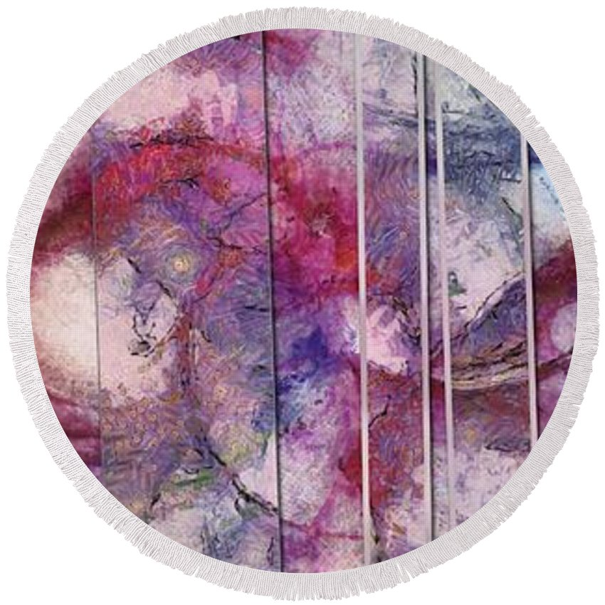 Figmental Round Beach Towel featuring the painting Kidnappings Configuration Id 16098-030514-10082 by S Lurk