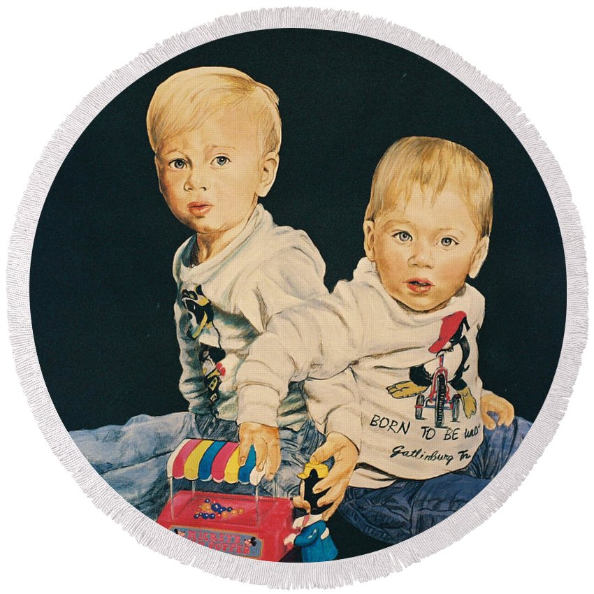 Kids Round Beach Towel featuring the painting Kids by Bryan Bustard