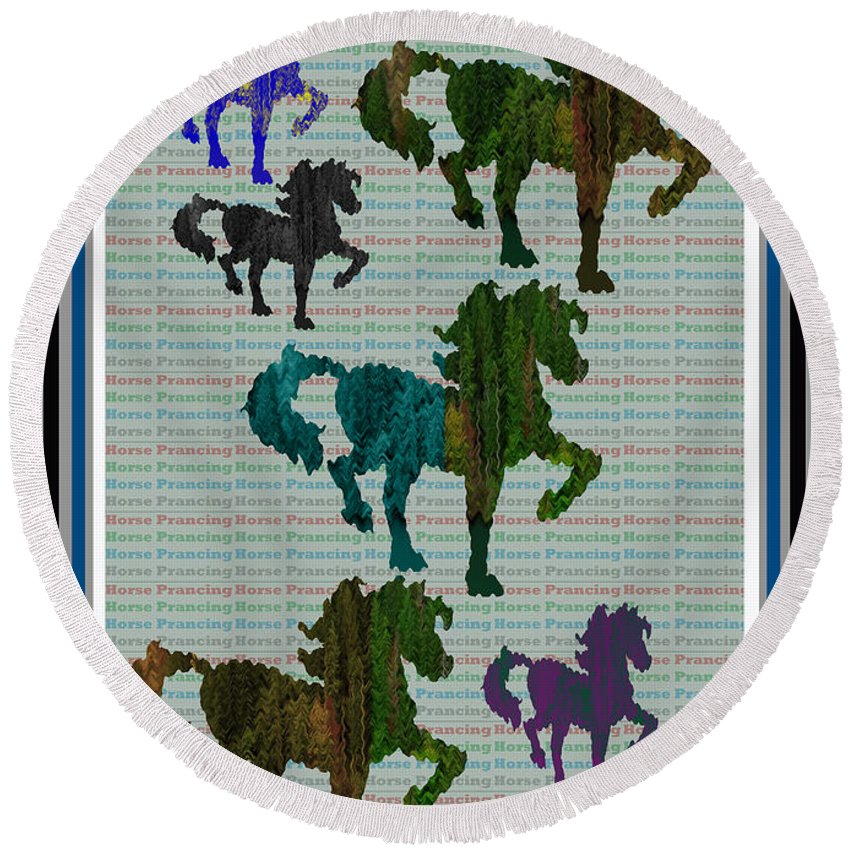 Green Horse Prancing Art Made Of Jungle Green Wild Colors Round Beach Towel featuring the mixed media Kids Fun Gallery Horse Prancing Art Made Of Jungle Green Wild Colors by Navin Joshi