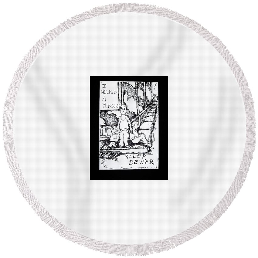 Homeless Round Beach Towel featuring the painting Kids On Corner by Todd Artist