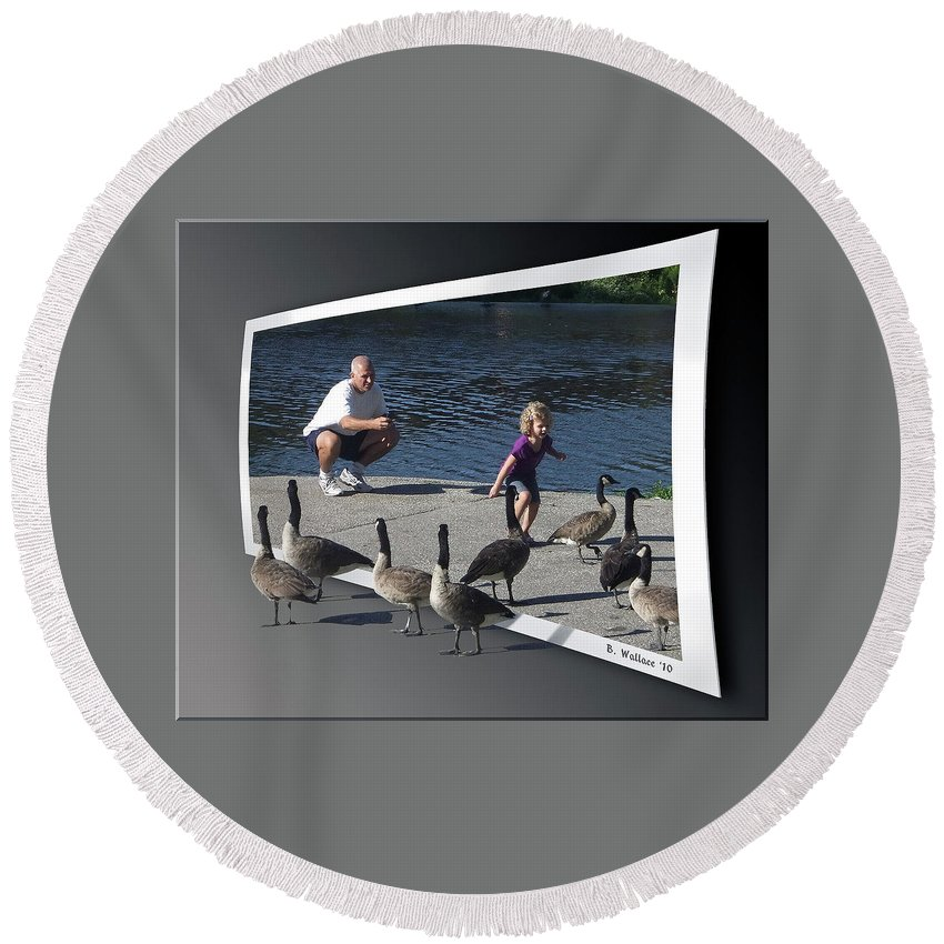 2d Round Beach Towel featuring the photograph Kids Will Be Kids 2 by Brian Wallace