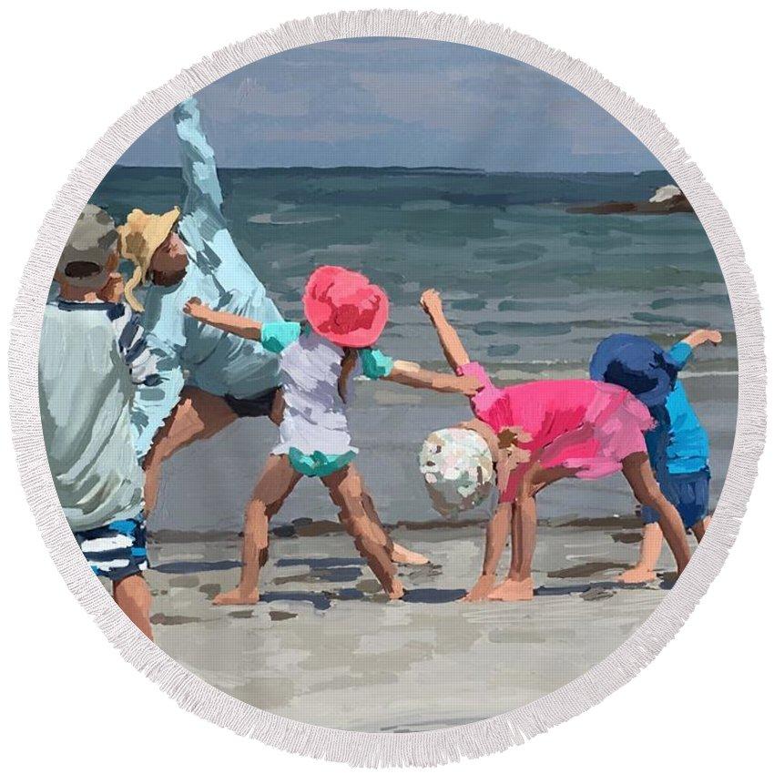 Wingaersheek Beach Round Beach Towel featuring the painting Kid's Yoga Class On Wingaersheek Beach by Melissa Abbott