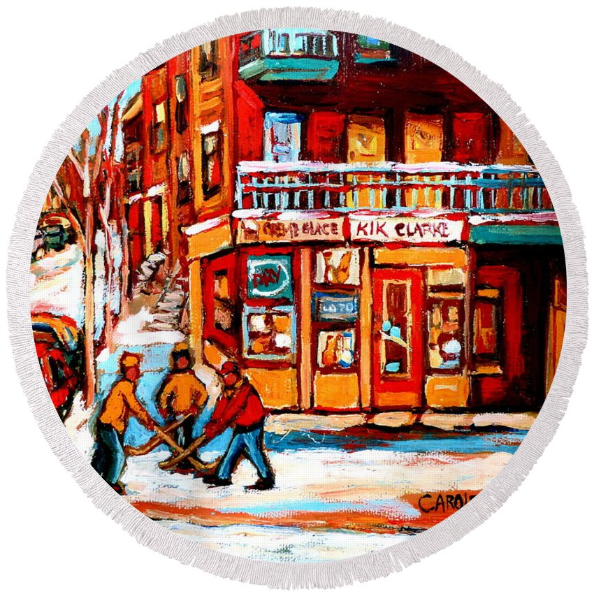 Montreal Streetscene Round Beach Towel featuring the painting Kik Cola Depanneur by Carole Spandau