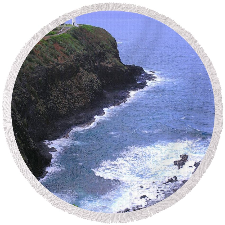Lighthouse Round Beach Towel featuring the photograph Kilauea Lighthouse And Bird Sanctuary by Mary Deal
