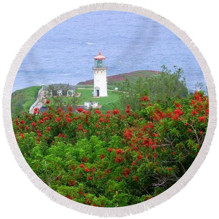Lighthouses Round Beach Towel featuring the photograph Kilauea Lighthouse Kauai Hawaii by Mary Deal