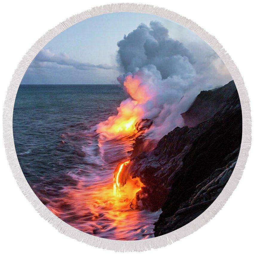 Kilauea Volcano Kalapana Lava Flow Sea Entry The Big Island Hawaii Hi Round Beach Towel Featuring