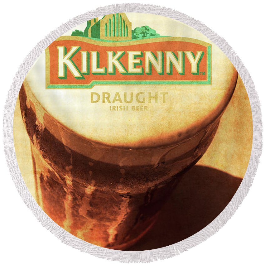 Kilkenny Draught Irish Beer Rusty Tin Sign Round Beach Towel for ...