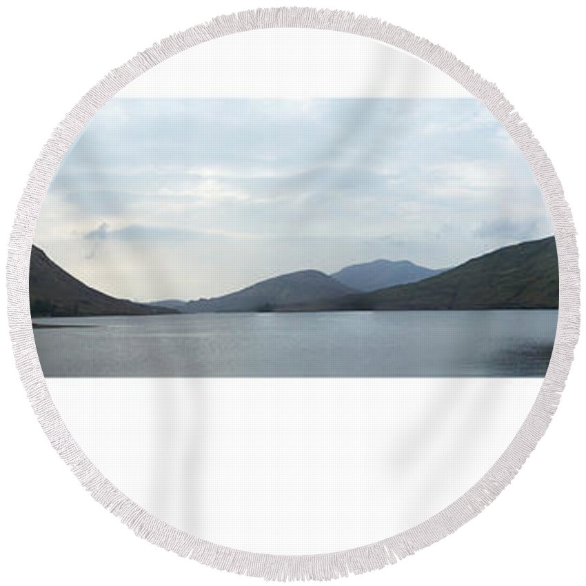 Landscape Round Beach Towel featuring the photograph Killary Harbour Leenane Ireland by Teresa Mucha