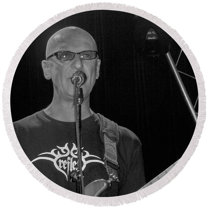 Kim Mitchell Band Rock And Roll Music Concerts Star Lead Singer Round Beach Towel featuring the photograph Kim Mitchell by Andrea Lawrence