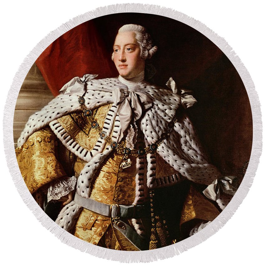 King Round Beach Towel featuring the painting King George IIi by Allan Ramsay