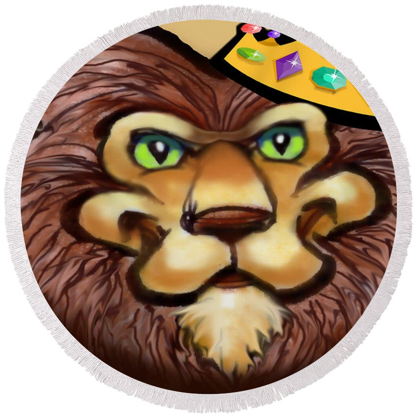 Lion Round Beach Towel featuring the digital art King by Kevin Middleton
