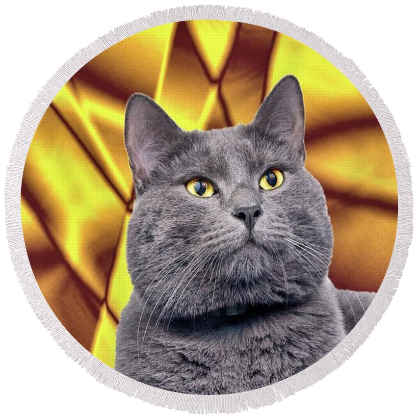 Cat Round Beach Towel featuring the digital art King Kitty With Golden Eyes by Janette Boyd