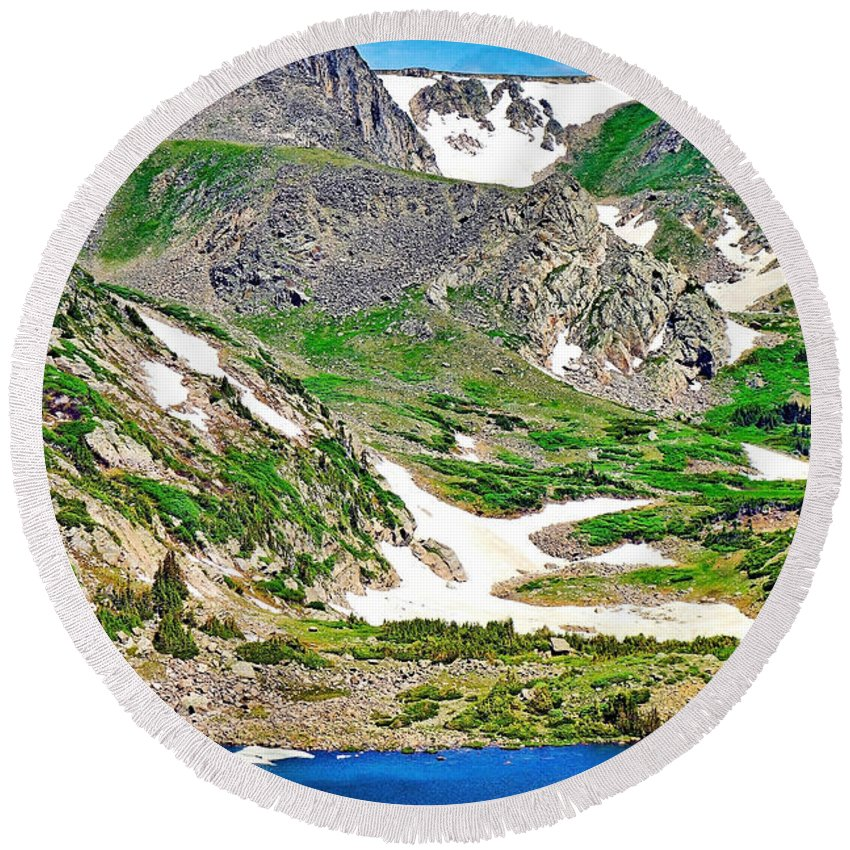 King Lake Round Beach Towel featuring the photograph King Lake At Rollins Pass T by Robert Meyers-Lussier