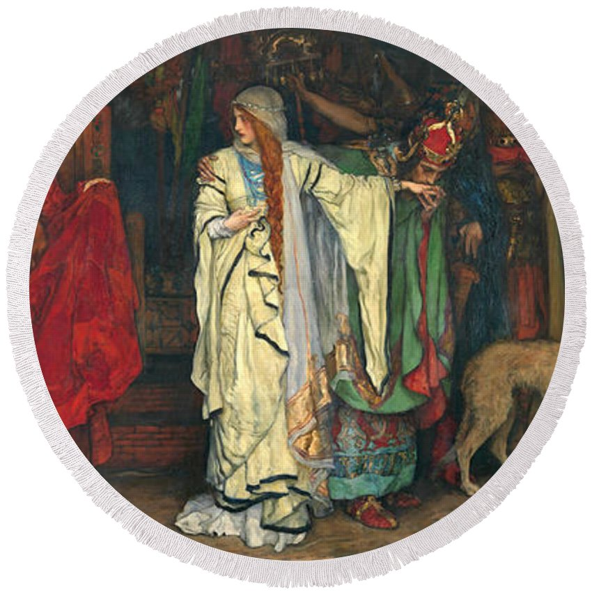 Edwin Austin Abbey Round Beach Towel featuring the painting King Lear. Act I Scene I by Edwin Austin Abbey