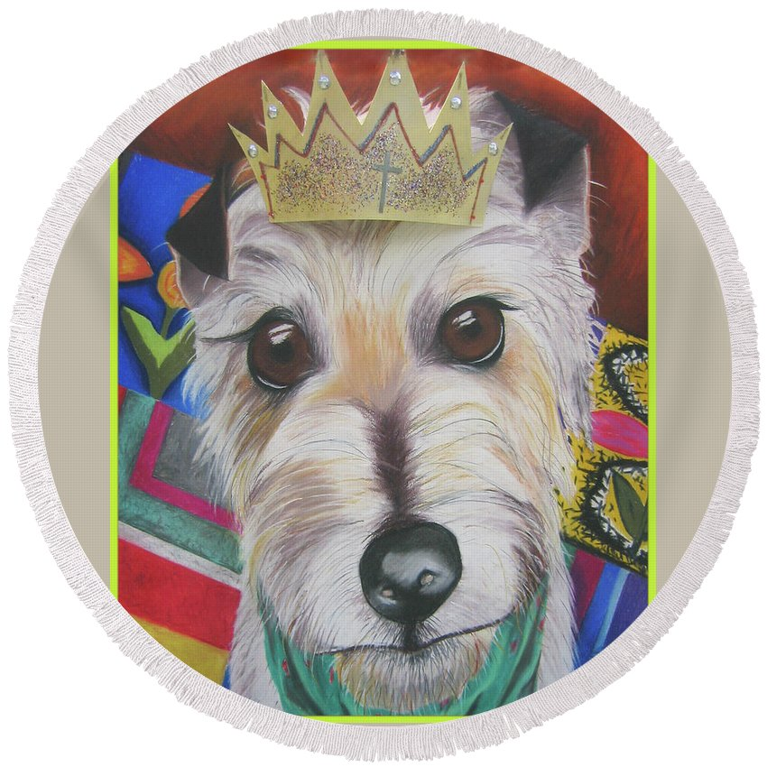 Dog Round Beach Towel featuring the pastel King Louie by Michelle Hayden-Marsan
