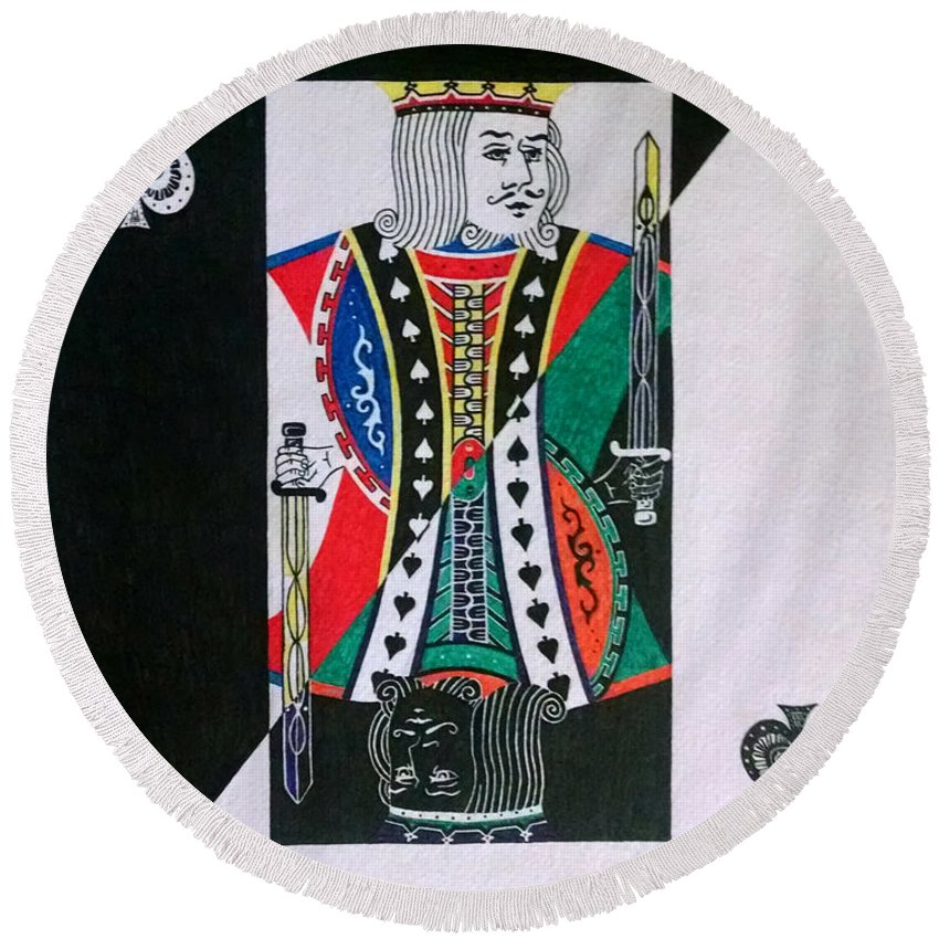 Pen An Ink Round Beach Towel featuring the drawing King Of Spades by Red Gevhere