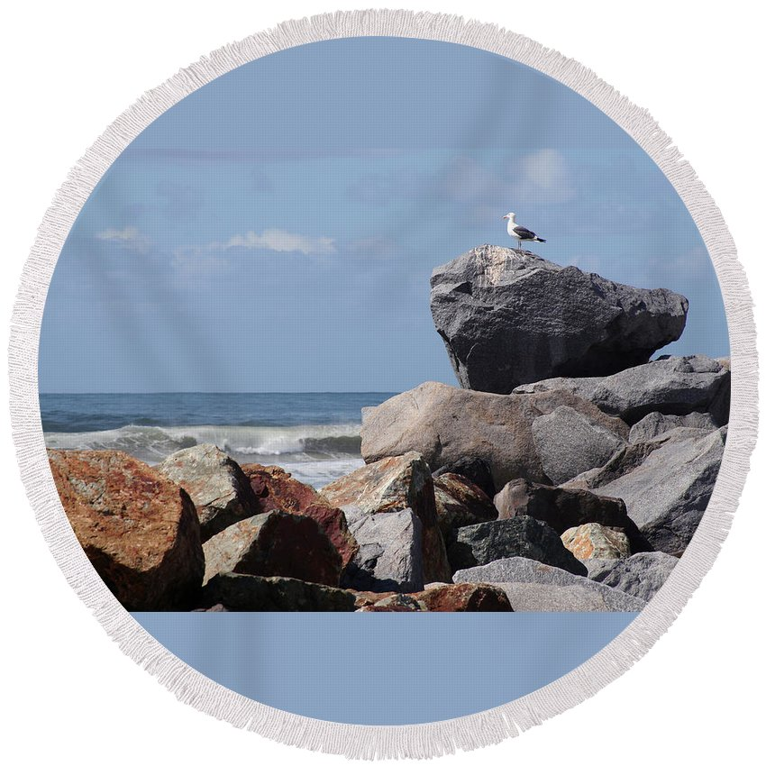 Beach Round Beach Towel featuring the photograph King Of The Rocks by Margie Wildblood