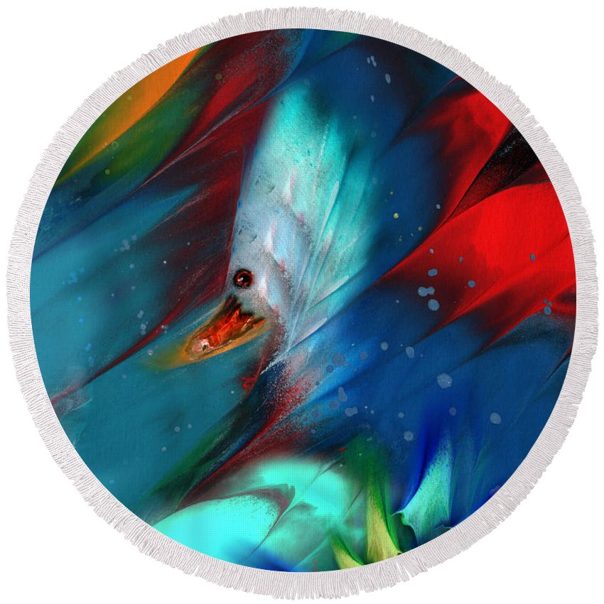 Bird Round Beach Towel featuring the painting King Of The Swans by Miki De Goodaboom