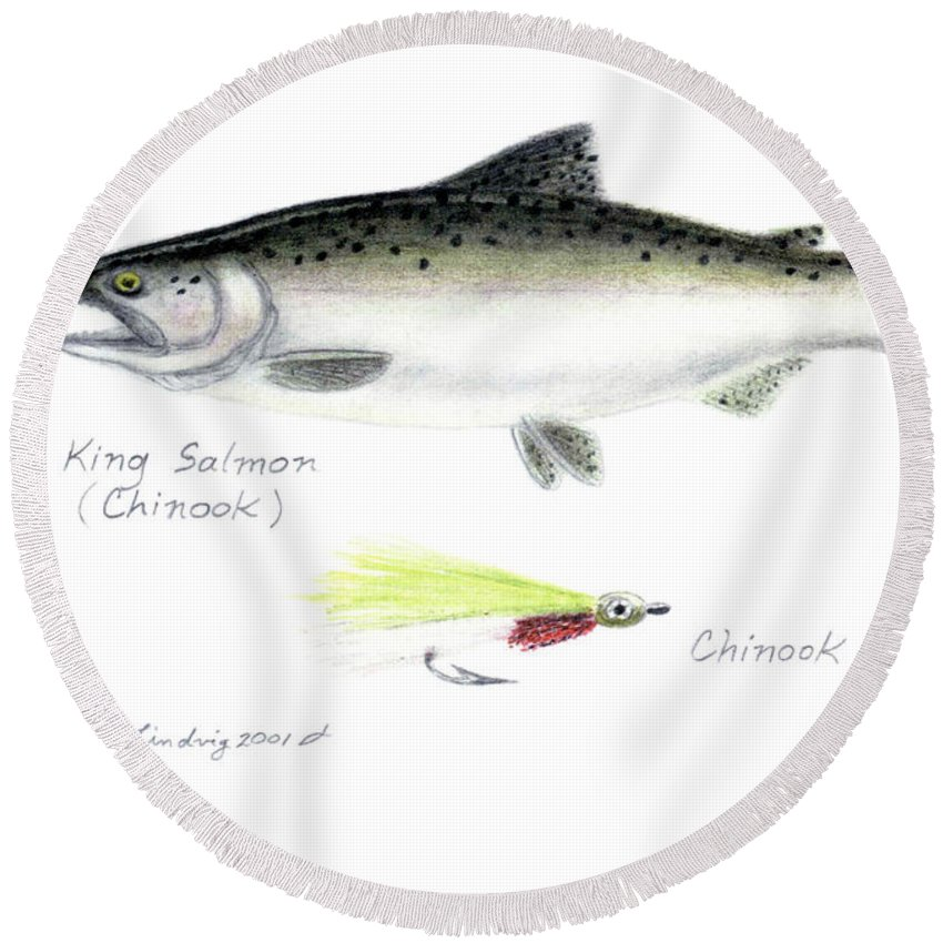 Fish Round Beach Towel featuring the drawing King Salmon Or Chinook With Chinook Candy Fly by Daniel Lindvig
