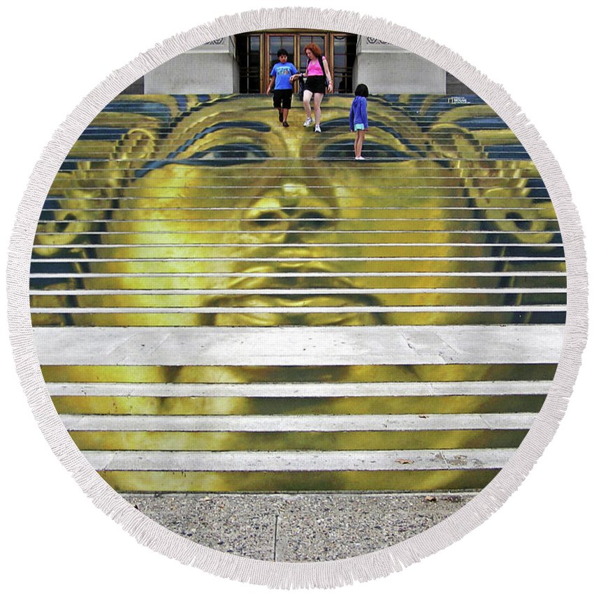 2d Round Beach Towel featuring the photograph King Tut - Museum Exhibition by Brian Wallace