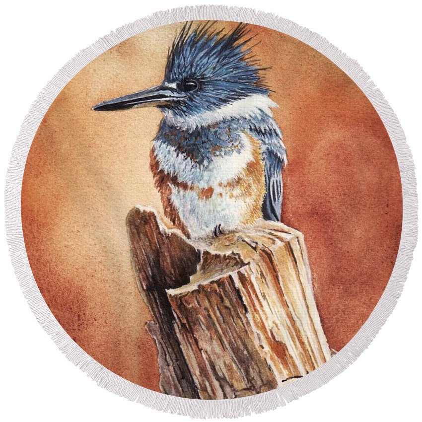 Bird Round Beach Towel featuring the painting Kingfisher I by Greg and Linda Halom