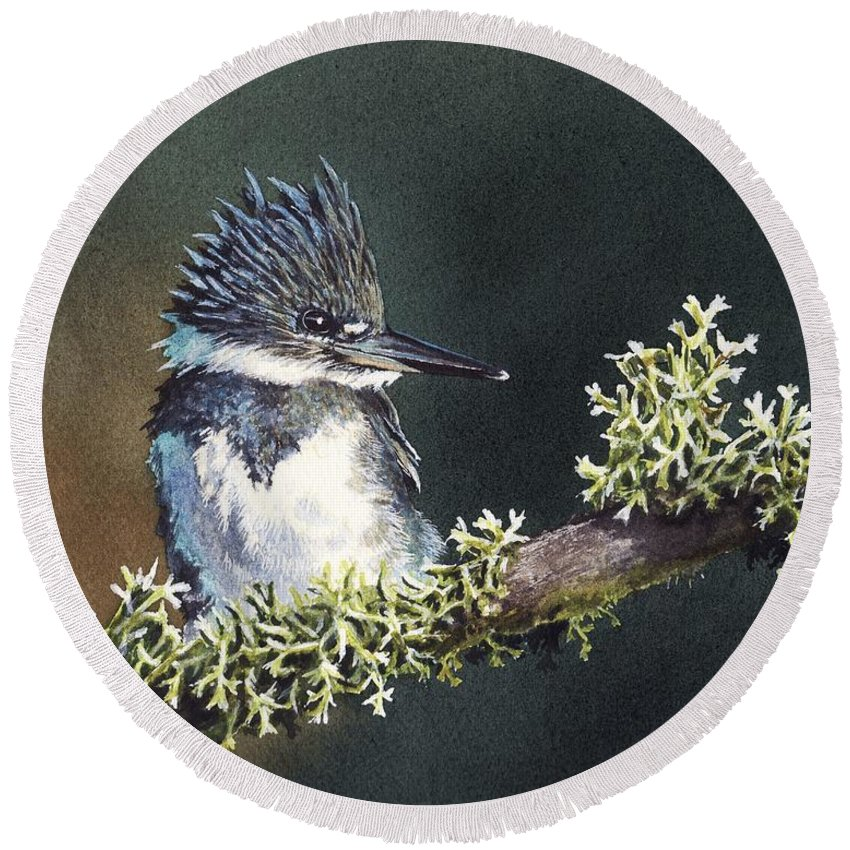 Bird Round Beach Towel featuring the painting Kingfisher II by Greg and Linda Halom