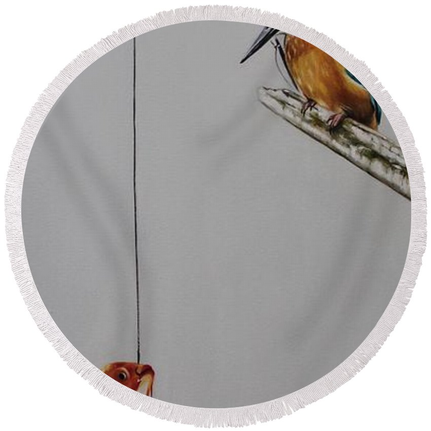 Bird Round Beach Towel featuring the painting Kingfisher by Rebecca Tecla