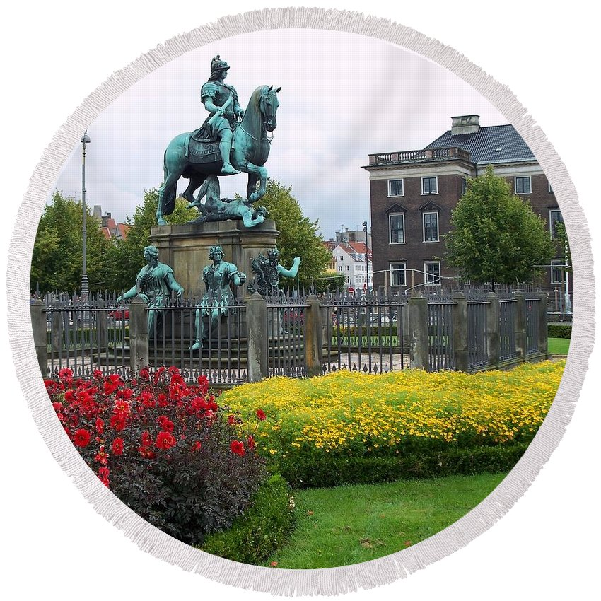 Copenhagen Round Beach Towel featuring the photograph Kings Square Statue Of Christian 5th by Richard Rosenshein