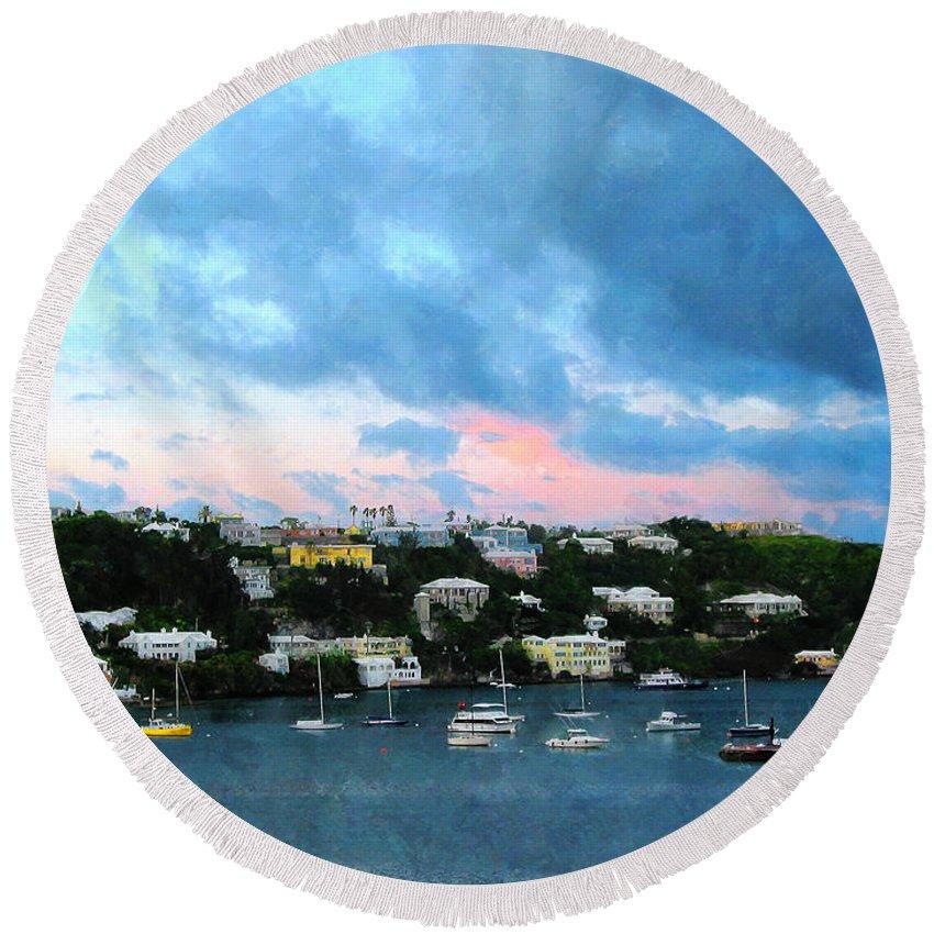 Boat Round Beach Towel featuring the photograph King's Wharf Bermuda Harbor Sunrise by Susan Savad