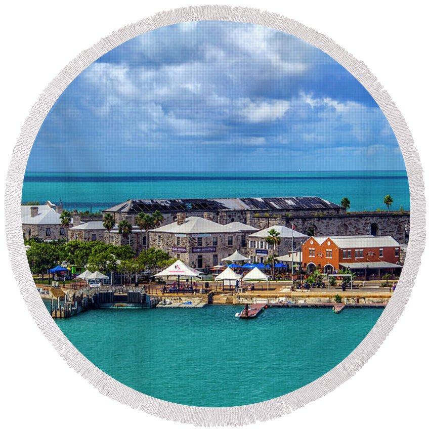 Kings Round Beach Towel featuring the photograph Kings Wharf, Bermuda by Roberta Bragan
