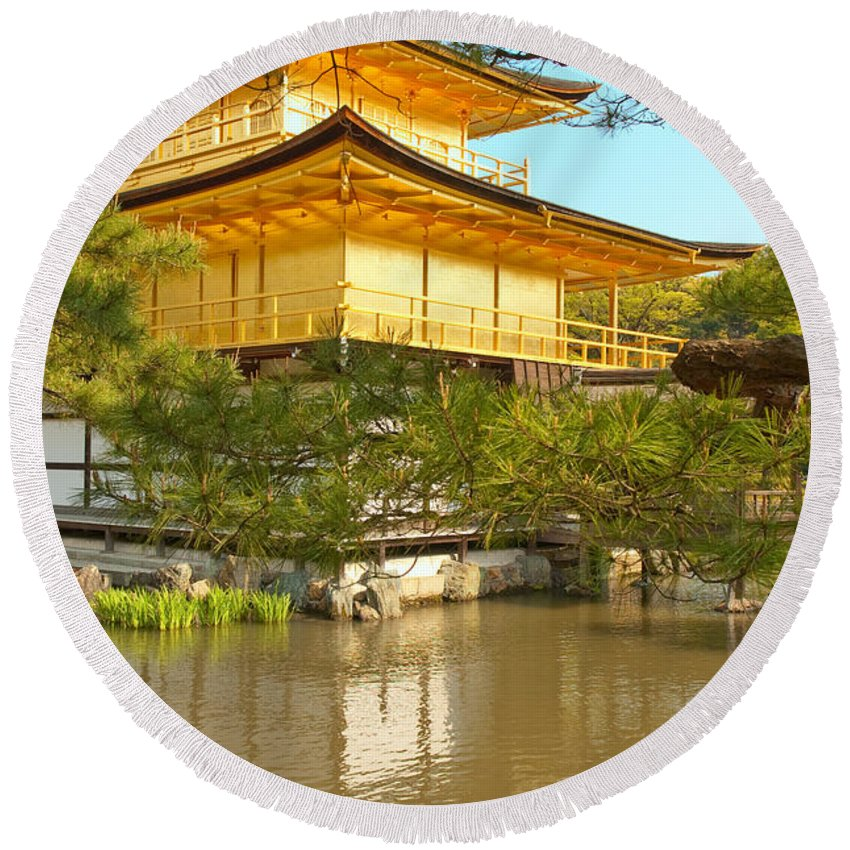 Japan Round Beach Towel featuring the photograph Kinkakuji Golden Pavilion Kyoto by Sebastian Musial