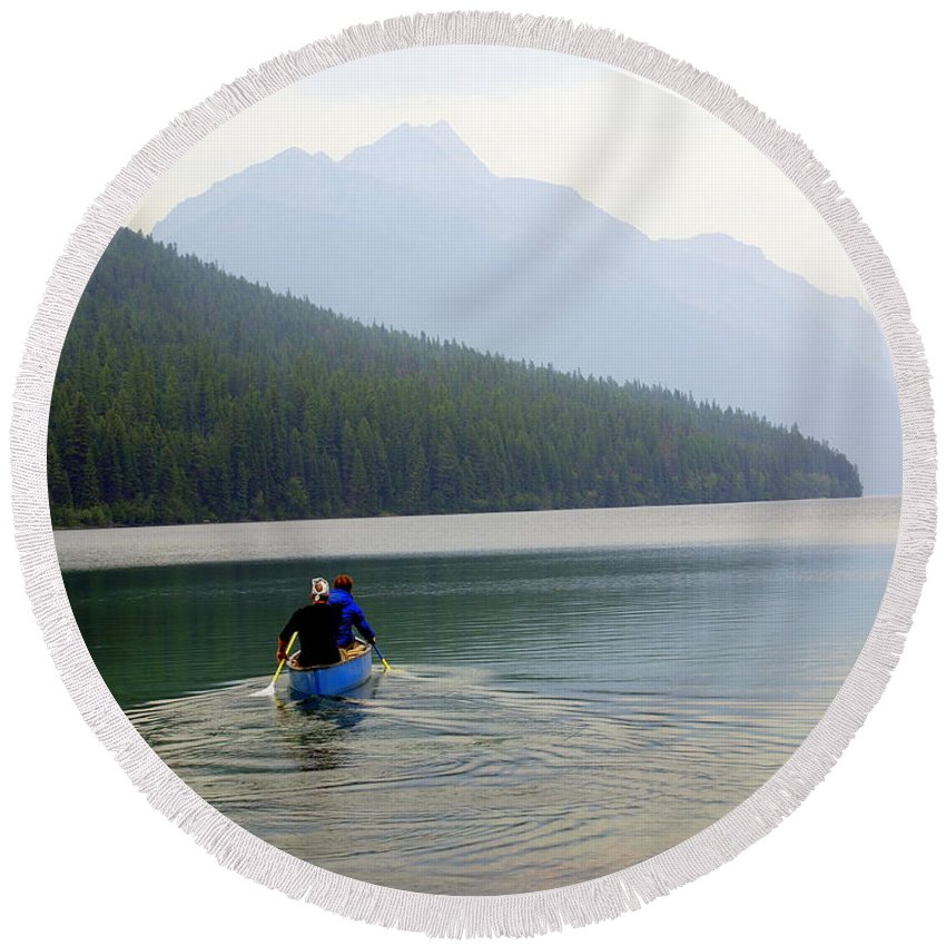 Mountains Round Beach Towel featuring the photograph Kintla Lake Paddlers by Marty Koch