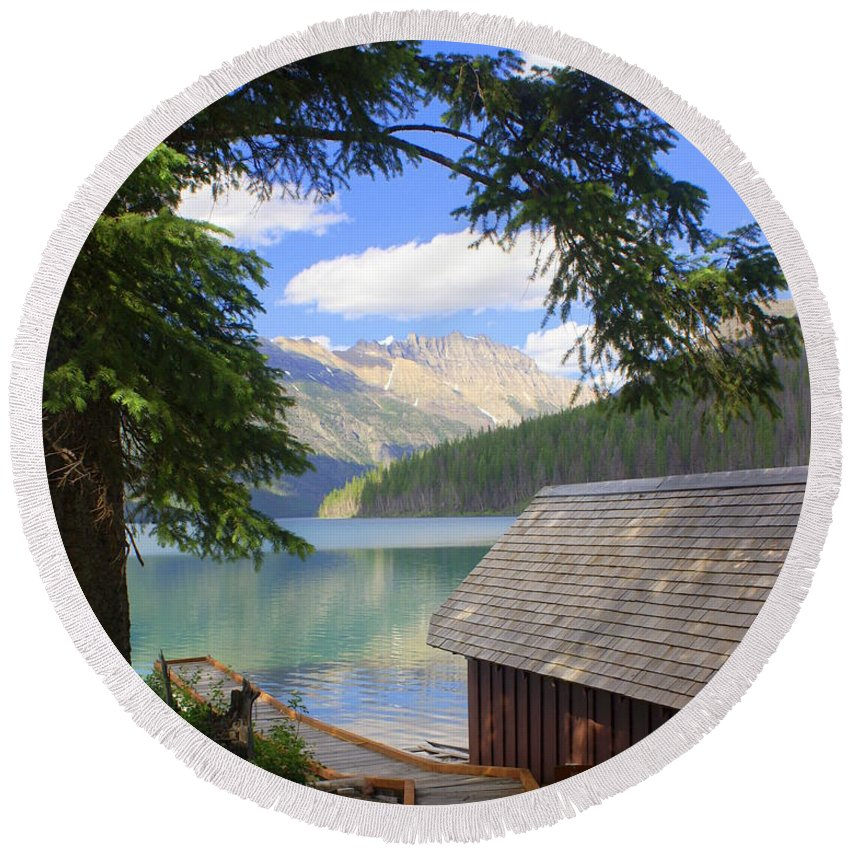 Glacier National Park Round Beach Towel featuring the photograph Kintla Lake Ranger Station Glacier National Park by Marty Koch