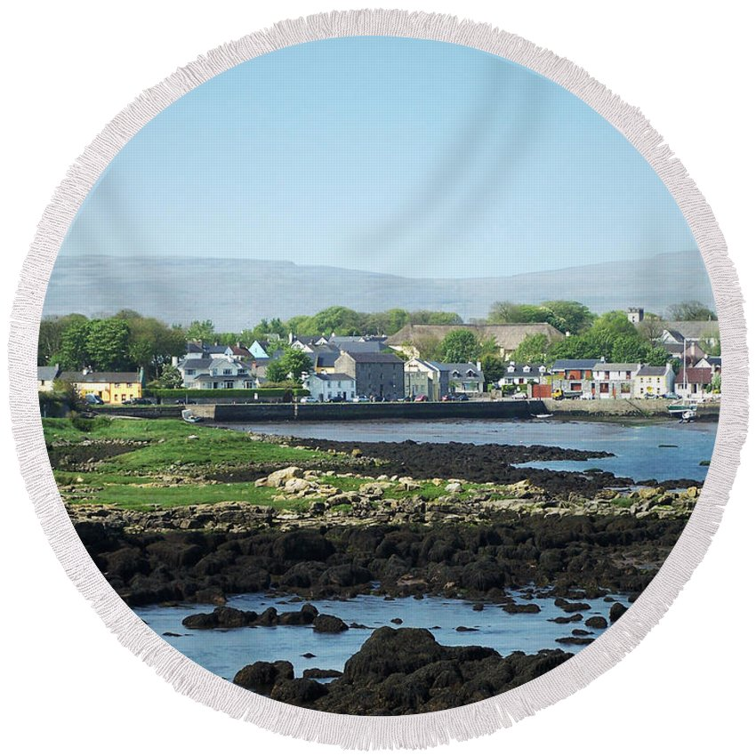 Irish Round Beach Towel featuring the photograph Kinvara Seaside Village Galway Ireland by Teresa Mucha