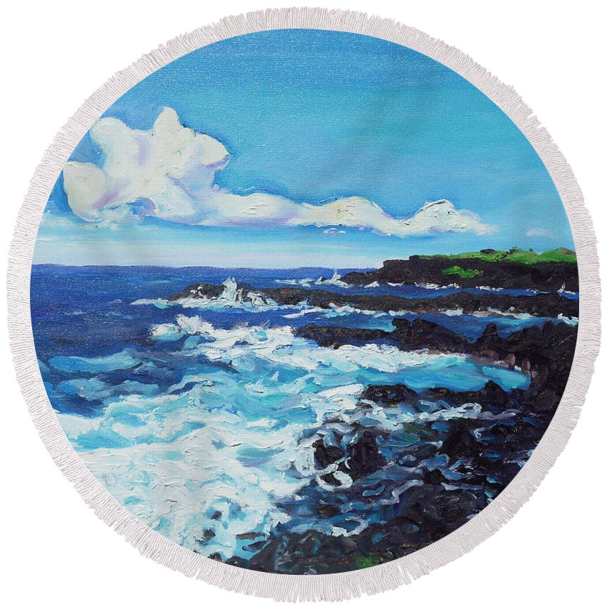 Kipahulu Round Beach Towel featuring the painting Kipahulu by Joseph Demaree