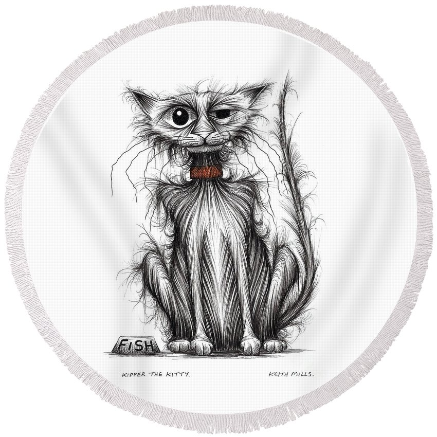 Kipper Round Beach Towel featuring the drawing Kipper The Kitty by Keith Mills